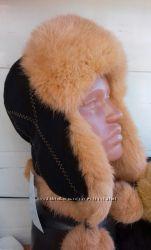 женская шапка-ушанка из меха кролика