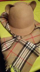 Шапка - шляпка с ушками Шарф в подарок
