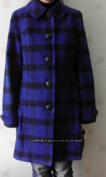 Пальто синее в клетку р-р L, новое из Америки шерсть