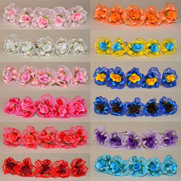 Шпильки кружевные розы, разные цвета