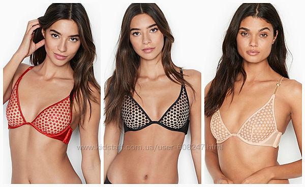 Бюстгальтер Victorias Secret лиф черный красный Виктория Сикрет оригинал