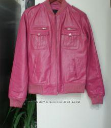 Кожаная натуральная кожа куртка, подкладка утепленная