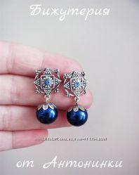 Сережки - гвоздики синие