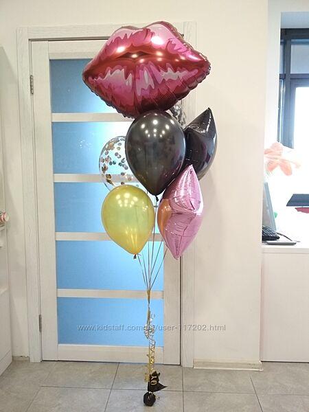 Большие воздушные шары с конфетти и кисточками Киев, шарики с гелием.