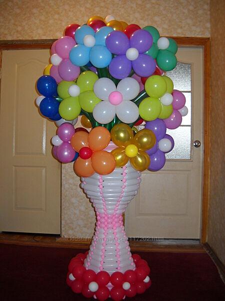 Цветы из шаров Киев, гелиевые воздушные шары, фигуры из шаров.
