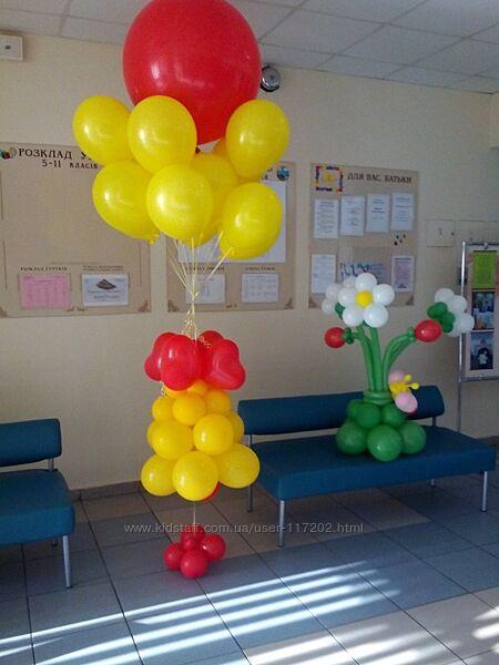 Оформление воздушными шарами выпускного в школах Киев, шарики с гелием