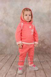 Гламурный спортивный костюм для девочки коралл Модный карапуз