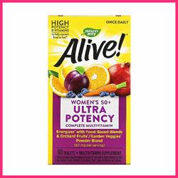 Мультивитамины для женщин 50,   Раз в день, Alive, Natures Way, 60 таблет