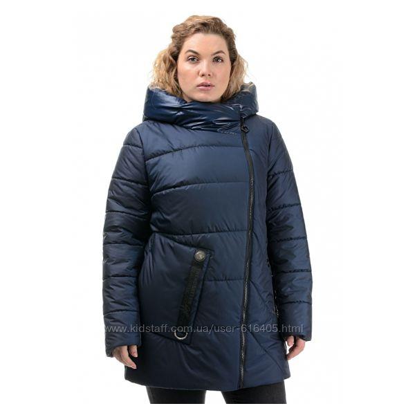 Женская куртка демисезон, большая 50-58, синий, беж, хаки, фрез, черный