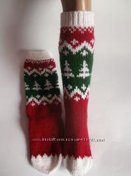 Рождественские носки гольфы с оленями