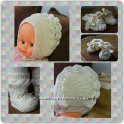 Детские вязанные носочки и пинетки, повязки на голову, шапочки Handmade