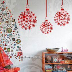 Новогодние  Виниловые Наклейки на стену не Китай