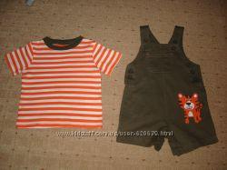 Комплект футболка и комбинезон Carters 9М, бу в состоянии нового