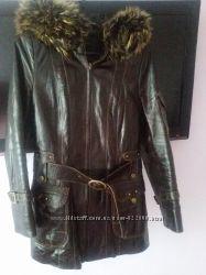 Натуральная кожаная куртка с мехом