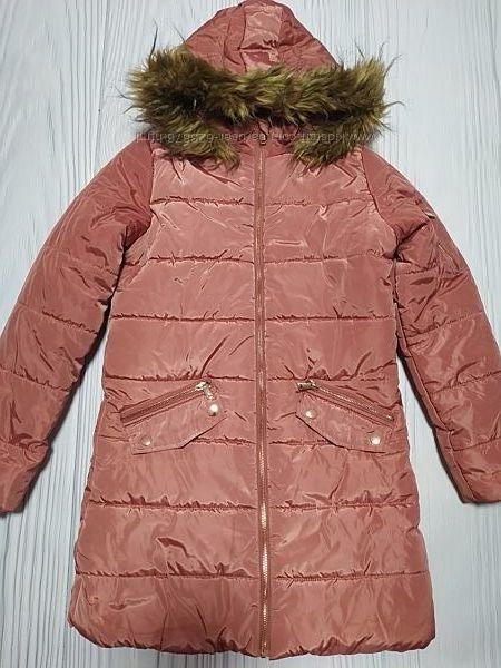 Куртка удлиненная всередине искусственный мех размер 12-13 лет