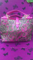 Королевская сумка 2 цвета малиновый и бежевый