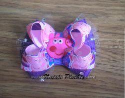 Свинка Пеппа - бантики, заколочки, резиночки, повязочка