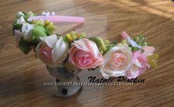 Ободок обруч на выпускной с розами - ручная работа
