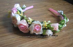 Ободок обруч  с розами - ручная работа