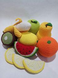 Вязаные развивающие игрушки фрукты для детей