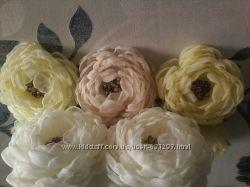 Заколки ручной работы, цветы из шифона