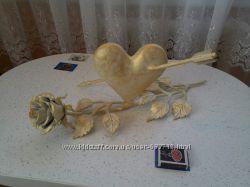 Сердце кованое с розой ручной работы