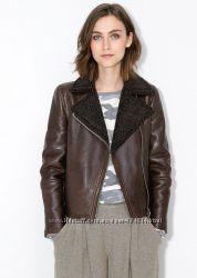 Кожаная куртка на искусственной овчине Mango XS