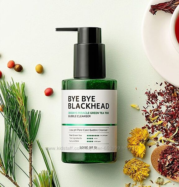 Пенка Some By Mi Bye Bye Blackhead 30 Days Miracle Green Tea Tox Bubble Cle
