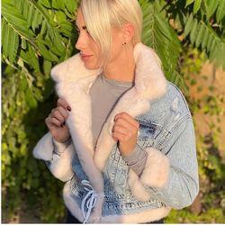 Джинсовая куртка джинсовка женская с норкой, XS-XL