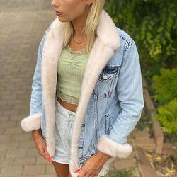 Женская джинсовая  куртка джинсовка с канадской норкой, огромный выбор