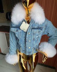 Женская джинсовая куртка с натуральным мехом, огромный выбор, все размеры