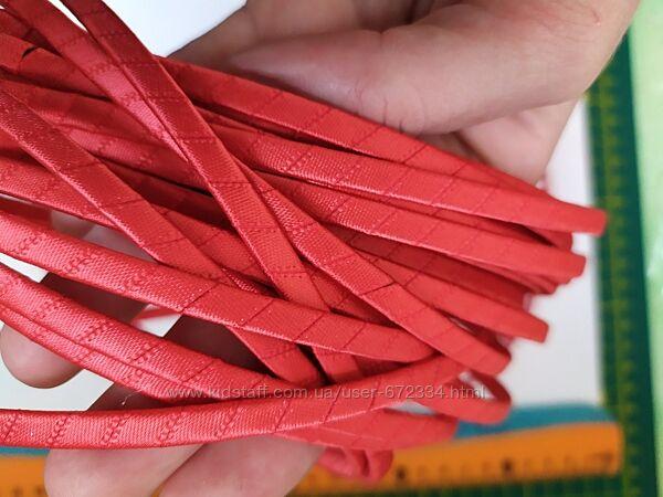 Обруч. Ободок для волос металлический обтянут тканью. красный.
