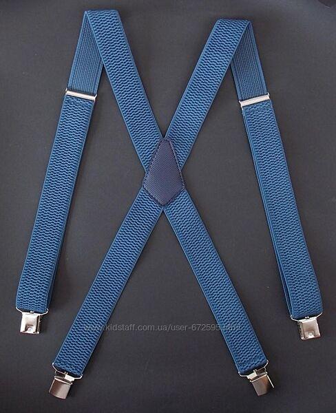 Мужские широкие светло-синие подтяжки большого размера арт. 638