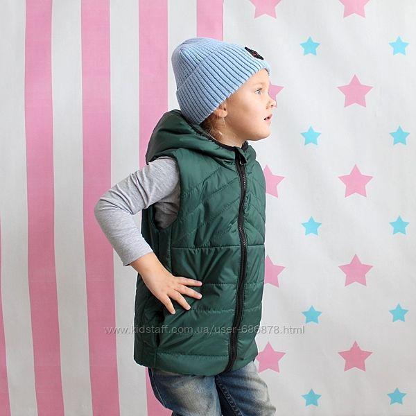 Жилет для мальчика Одягайко зеленый изумрудный