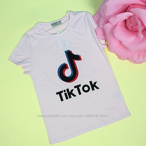 Футболка для девочки Tik-tok розовая
