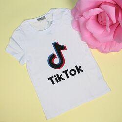 Футболка для девочки Tik-tok белая
