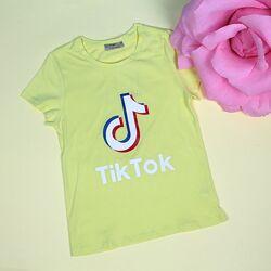 Футболка для девочки Tik-tok желтая