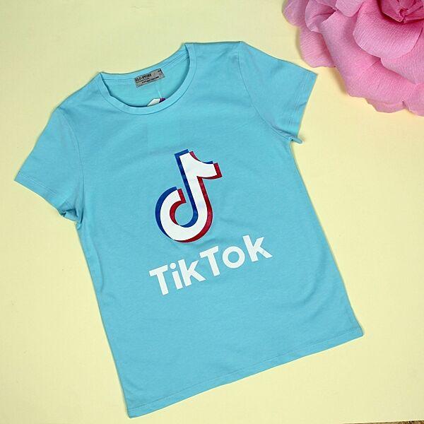 Футболка для девочки Tik-tok голубая