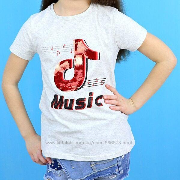 Футболка для девочки Music пайетки-перевертыши