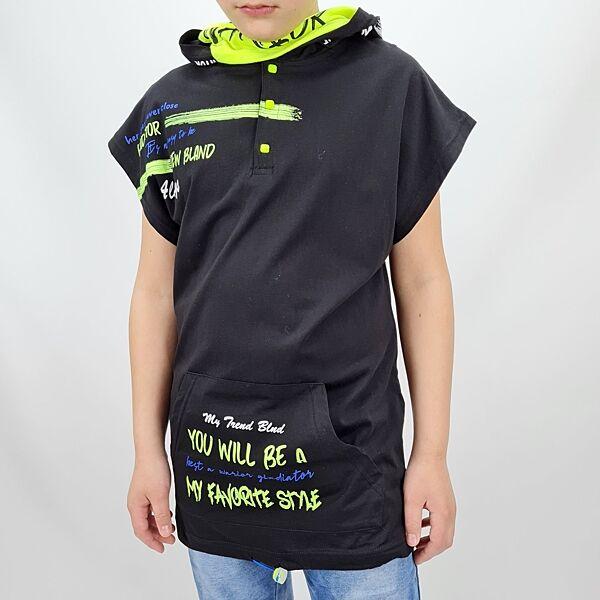 Футболка для мальчика карман-кенгуру тм Blueland с капюшоном и зат
