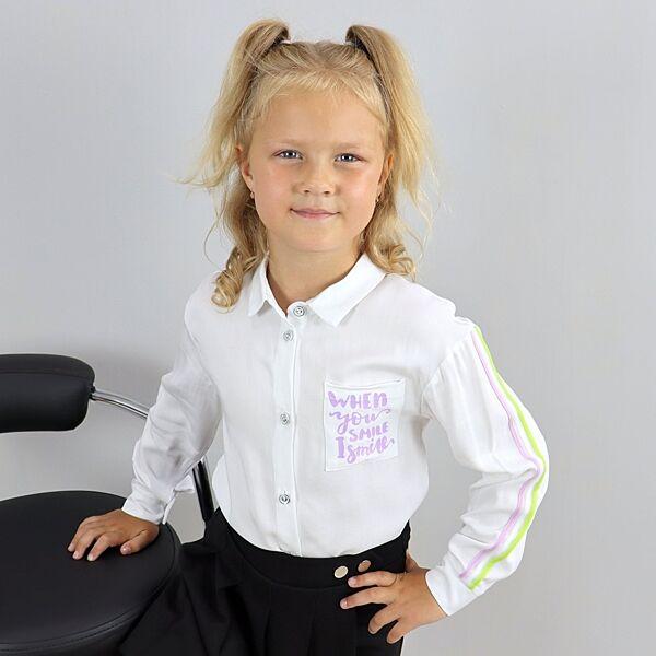 Рубашка для девочки белая тм Mevis