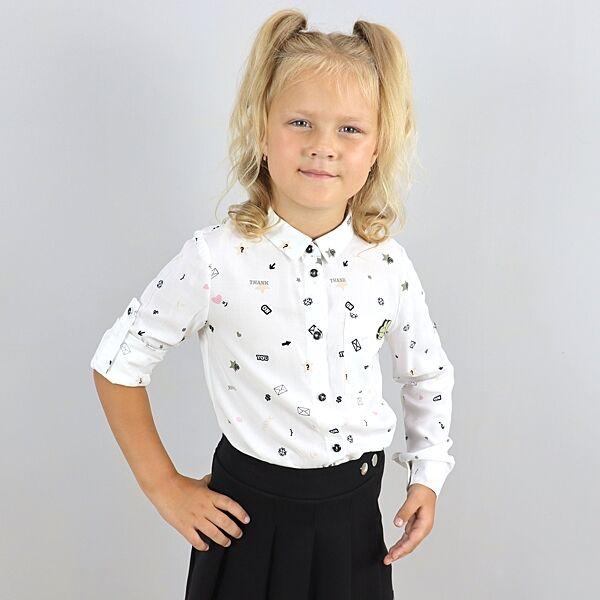 Рубашка белая для девочки с длинным рукавом тм Mevis