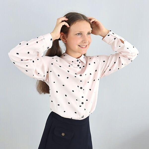 Рубашка для девочки пудровая с котиками тм Mevis