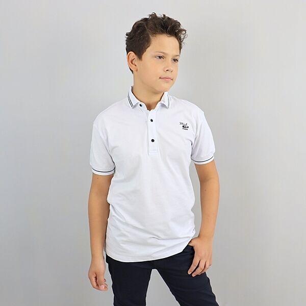 Белая Футболка Поло для мальчика тм Blueland