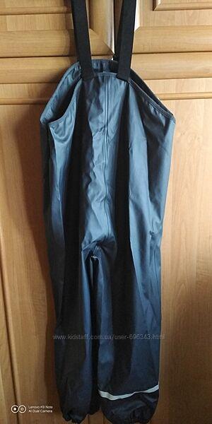 Непромокаемый водоотталкивающий прорезиненный  полукомбинезон штаны
