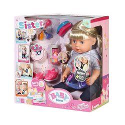 824603 кукла zapf baby born нежные объятия сестренка-модница с аксессуарами