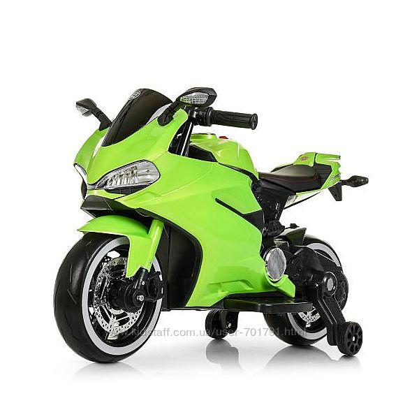 Электромотоцикл 4104ELS детский от 3 лет с дополнительными колесами