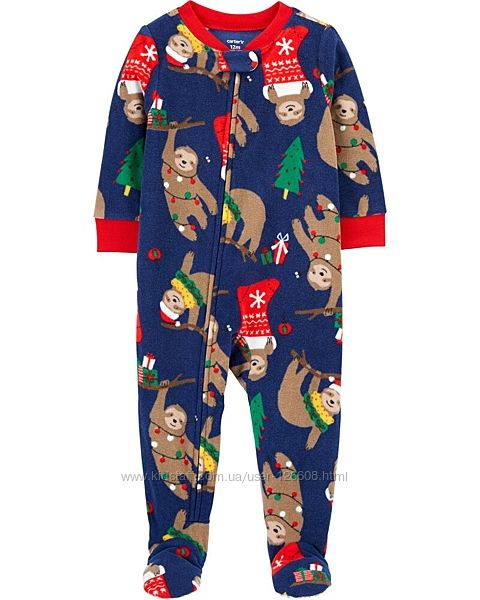 4т. Человечек флисовый новогодний Carters. Слип картерс, пижама.