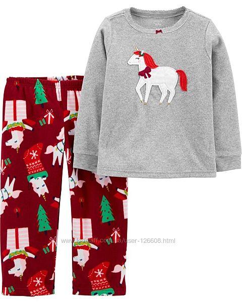 4т,5т. Пижама флисовая Carters Единорог новогодний. В наличии