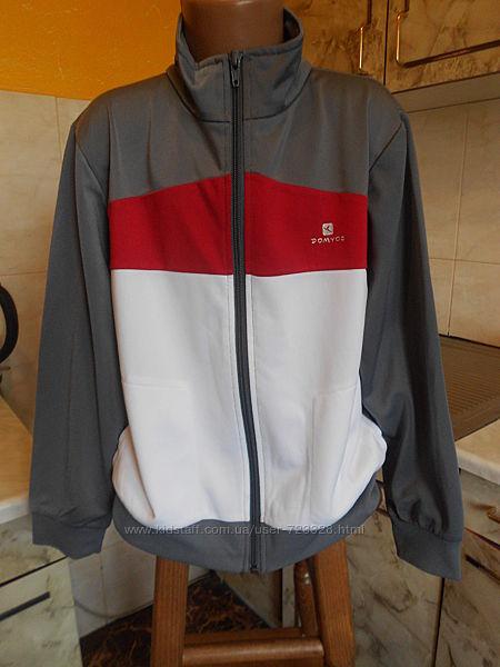 спортивная куртка кофта на замке серо-бело-красная Domyos 134/146 см 10 лет